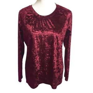Urban Coco Crushed Velvet Red Long Sleeve Blouse